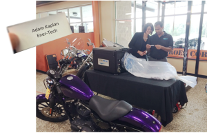 Aeroseal's marketing director Denise Tudor (L) and company CEO Amit Gupta pick contest winners during live webinar from Buckeye Harley Davidson, Dayton, OH.