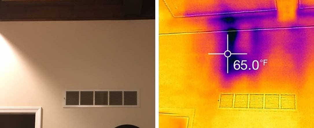 infrared image of duct leakage behind walls