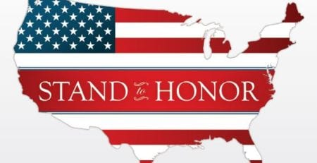 stand to honor logo
